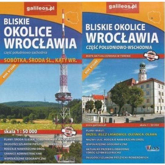 Mapa Okolice Wrocławia - cz. płd-zach płd-wsch
